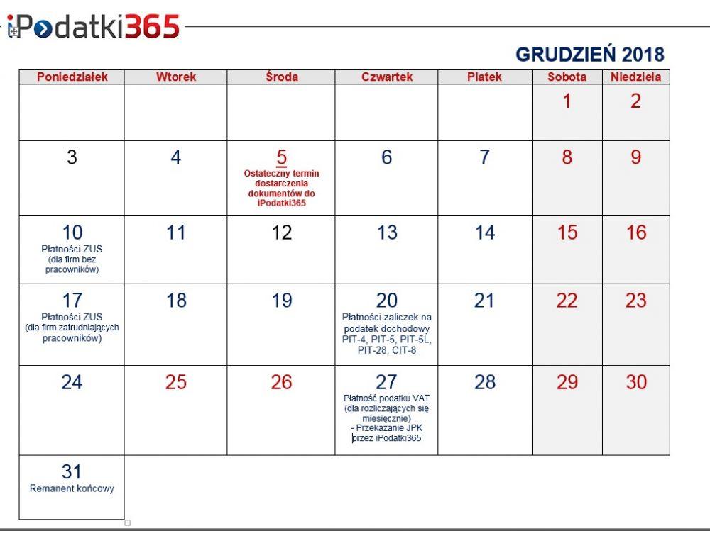 Poradnik przedsiębiorcy. Kalendarz najważniejszych terminów grudniowych dla naszych klientów