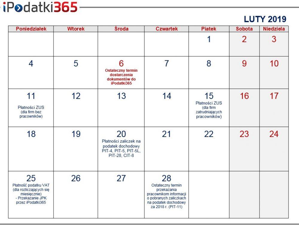 Poradnik przedsiębiorcy. Kalendarz najważniejszych terminów lutowych dla naszych klientów