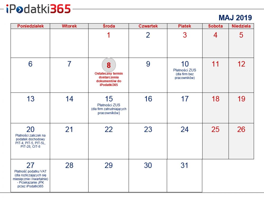 Poradnik przedsiębiorcy. Kalendarz najważniejszych terminów majowych dla naszych klientów