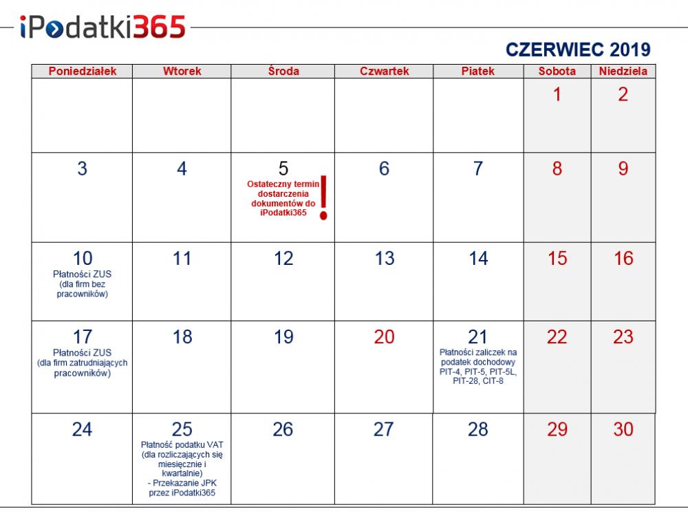 Poradnik przedsiębiorcy. Kalendarz najważniejszych terminów czerwcowych dla naszych klientów