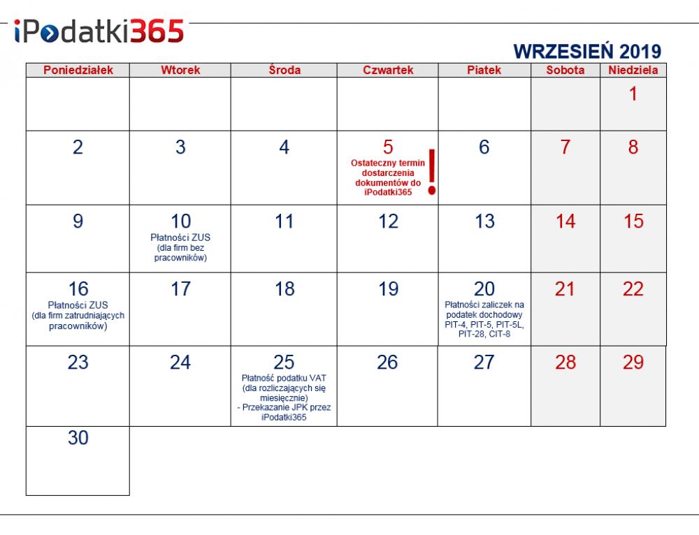 Poradnik przedsiębiorcy. Kalendarz najważniejszych terminów wrześniowych dla naszych klientów